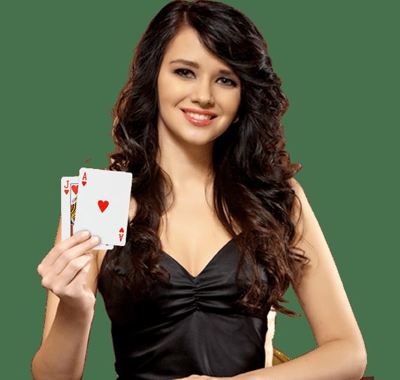 Blackjackdealer laat aas en 10 zien