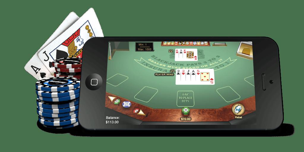 blackjackspel op mobile telefoon en fiches