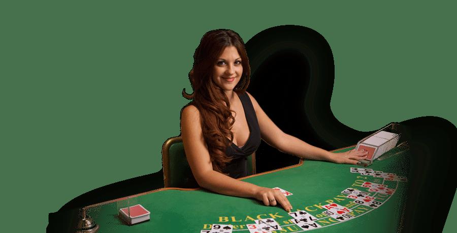 casino blackjack dealer wijst kaart aan