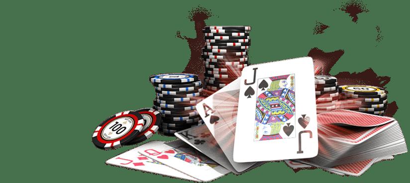 speelkaarten en poker fiches of chips